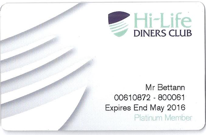 Hi-Life Diners Card